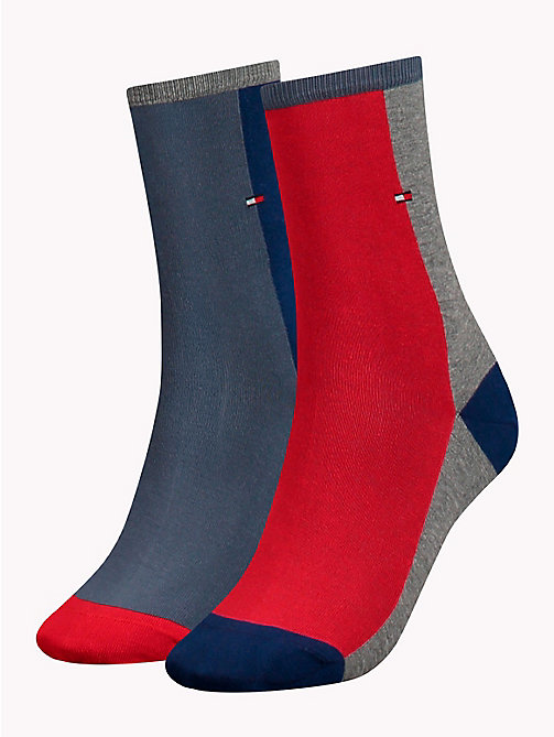 TOMMY HILFIGER 2-Pack Colour-Blocked Socks - BORDEAUX - TOMMY HILFIGER Socks & Hosiery - main image
