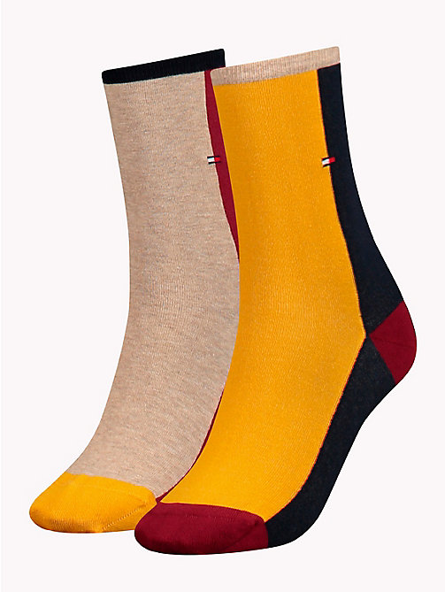 TOMMY HILFIGER 2-Pack Colour-Blocked Socks - RED / YELLOW / BLUE - TOMMY HILFIGER Stocking Stuffers - main image
