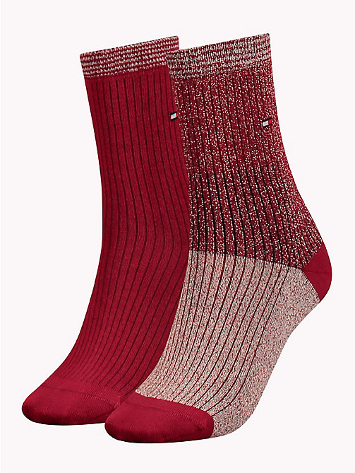 TOMMY HILFIGER 2-Pack Metallic Colour-Blocked Socks - BORDEAUX - TOMMY HILFIGER Stocking Stuffers - main image