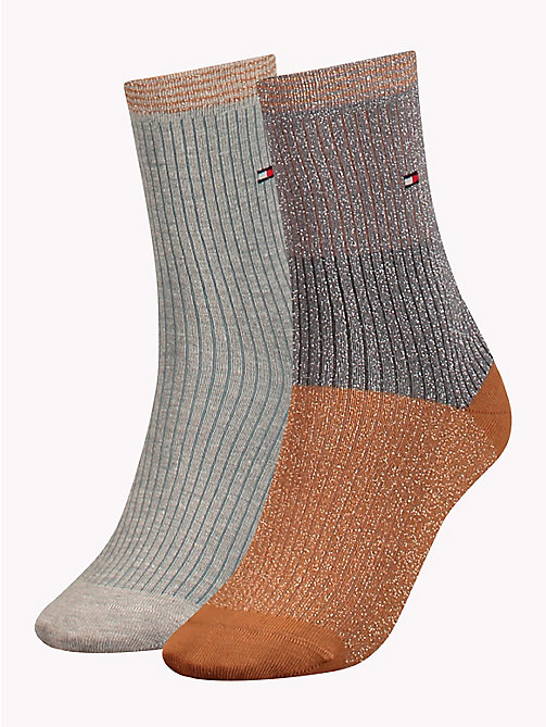 TOMMY HILFIGER 2-Pack Metallic Colour-Blocked Socks - MIDDLE GREY MELANGE - TOMMY HILFIGER Stocking Stuffers - main image