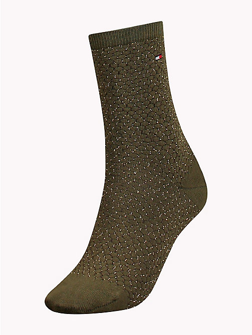 TOMMY HILFIGER Waffle-Knit Micro Print Boot Socks - MEDIUM GREEN - TOMMY HILFIGER Stocking Stuffers - main image
