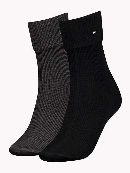 TOMMY HILFIGER 2-Pack Fold-Over Socks - BLACK - TOMMY HILFIGER Socks & Hosiery - main image
