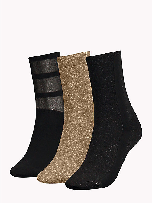 TOMMY HILFIGER 3-Pack Glitter Socks - BLACK - TOMMY HILFIGER Stocking Stuffers - detail image 1