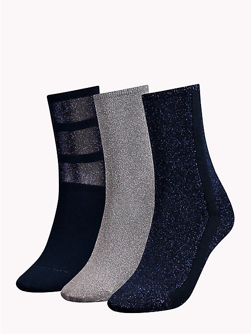 TOMMY HILFIGER 3-Pack Glitter Socks - MIDNIGHT BLUE - TOMMY HILFIGER Stocking Stuffers - detail image 1