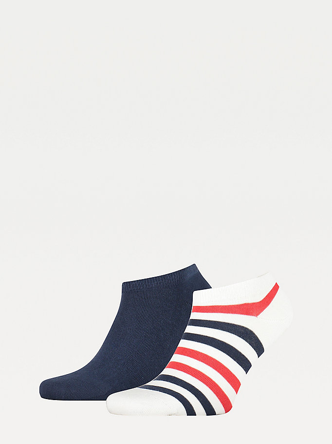 white 2-pack stripe trainer socks for men tommy hilfiger