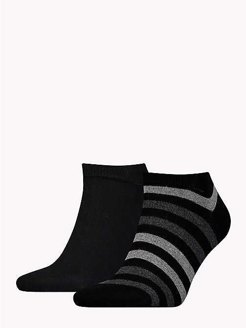 TOMMY HILFIGER 2-Pack Stripe Trainer Socks - BLACK - TOMMY HILFIGER Socks - main image