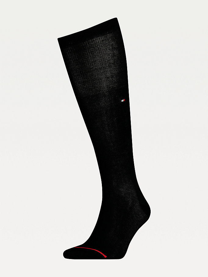 black mercerised cotton blend knee length socks for men tommy hilfiger