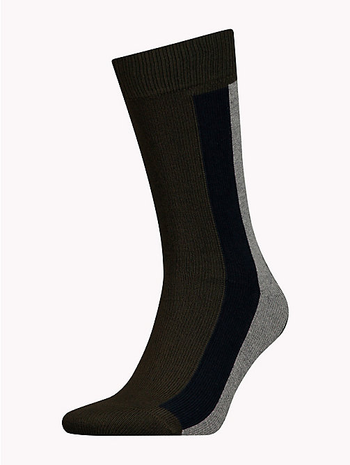 TOMMY HILFIGER Colour-Blocked Stretch Cotton Socks - BURNT OLIVE - TOMMY HILFIGER Underwear & Swimwear - main image