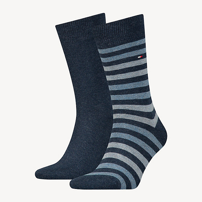 blau th men duo stripe sock 2p für herren - tommy hilfiger