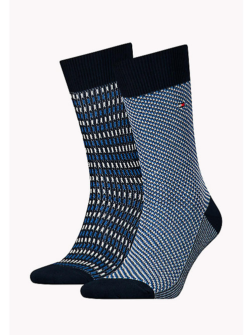 TOMMY HILFIGER TH MEN THREE TONE SOCK 2P - DARK NAVY - TOMMY HILFIGER Socks - main image