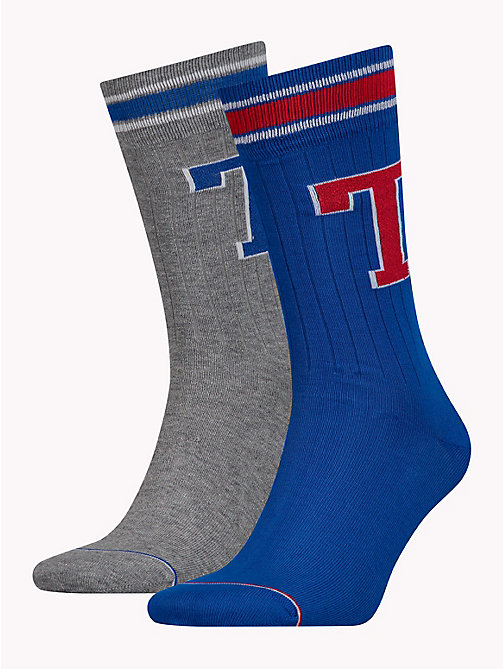 TOMMY HILFIGER 2-Pack Monogram Logo Socks - RED/BLUE - TOMMY HILFIGER Stocking Stuffers - main image