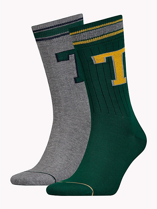 TOMMY HILFIGER 2-Pack Monogram Logo Socks - ISLAND GREEN - TOMMY HILFIGER Stocking Stuffers - main image