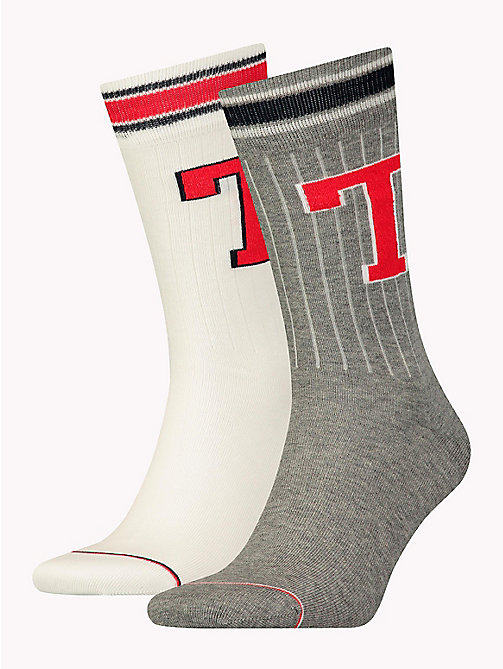 TOMMY HILFIGER TH MEN TH PATCH SOCK 2P - MIDDLE GREY MELANGE - TOMMY HILFIGER Chaussettes - image principale