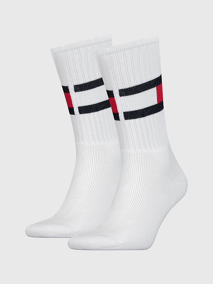 white 1-pack colour-blocked flag socks for men tommy hilfiger