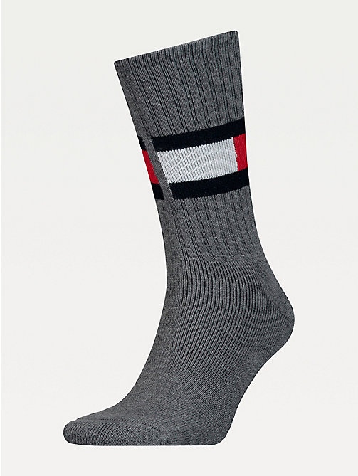 TOMMY HILFIGER Cotton Blend Flag Socks - MIDDLE GREY MELANGE - TOMMY HILFIGER Underwear & Socks - main image