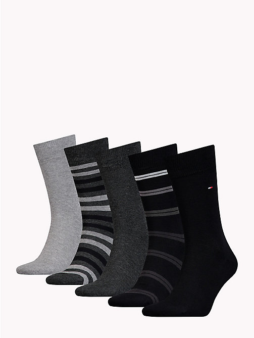 TOMMY HILFIGER 5-Pack Socks - BLACK - TOMMY HILFIGER Stocking Stuffers - detail image 1