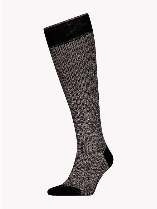 TOMMY HILFIGER Knee-High Micro Print Socks - BLACK - TOMMY HILFIGER Clothing - main image