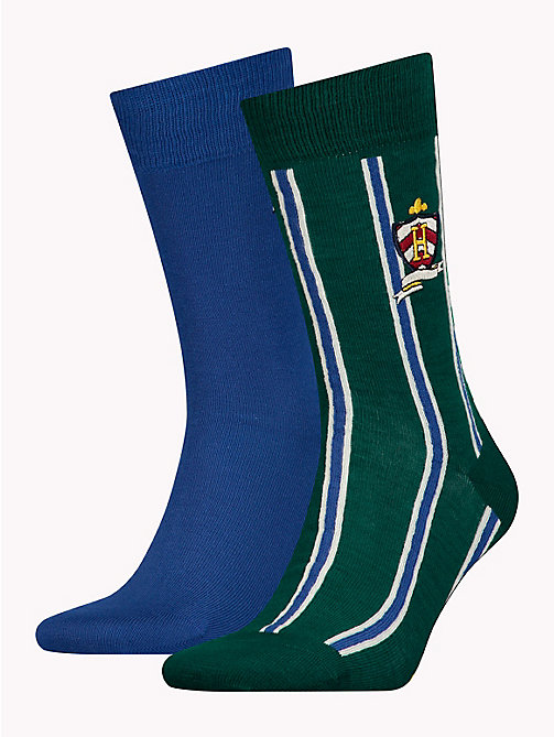 TOMMY HILFIGER 2-Pack Crest Socks - BLUE GREEN COMBO - TOMMY HILFIGER Socks - main image
