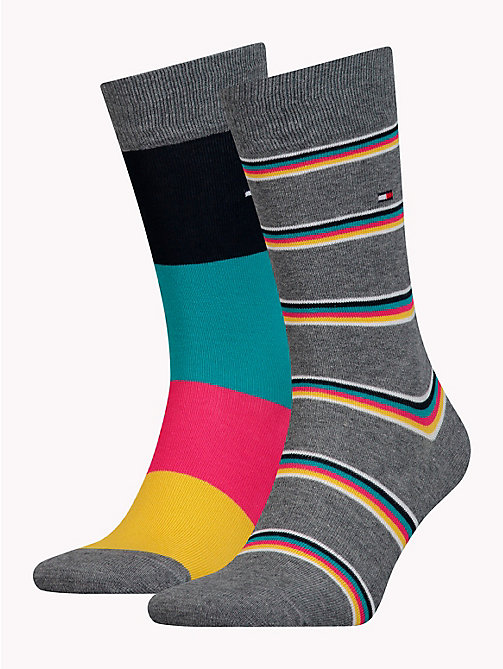 TOMMY HILFIGER 2-Pack Stripe Socks - MIDDLE GREY MELANGE - TOMMY HILFIGER Socks - main image