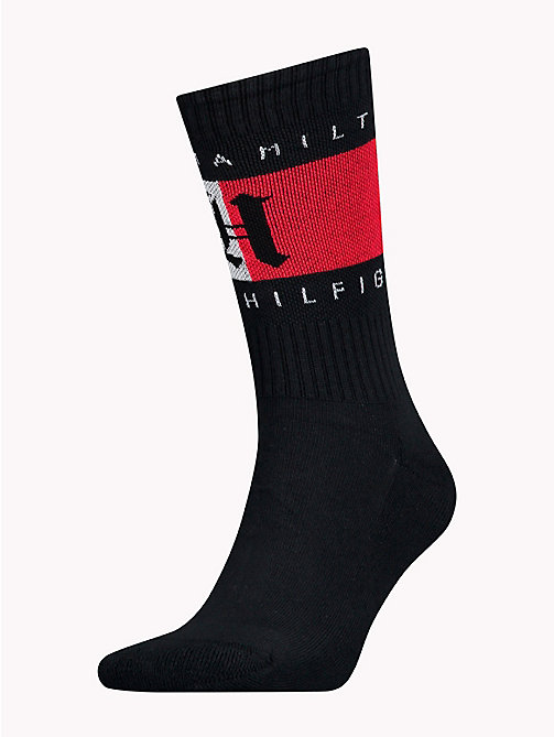 TOMMY HILFIGER Lewis Hamilton Flag Socks - BLACK - TOMMY HILFIGER TOMMY NOW MEN - main image