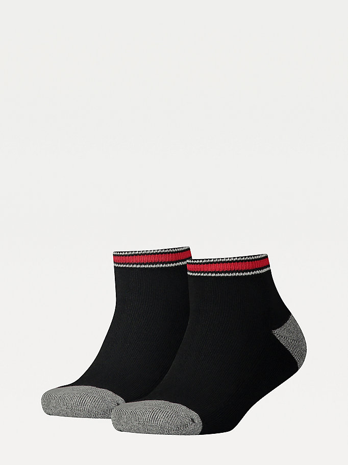 black 2-pack kids' sports quarter socks for unisex tommy hilfiger