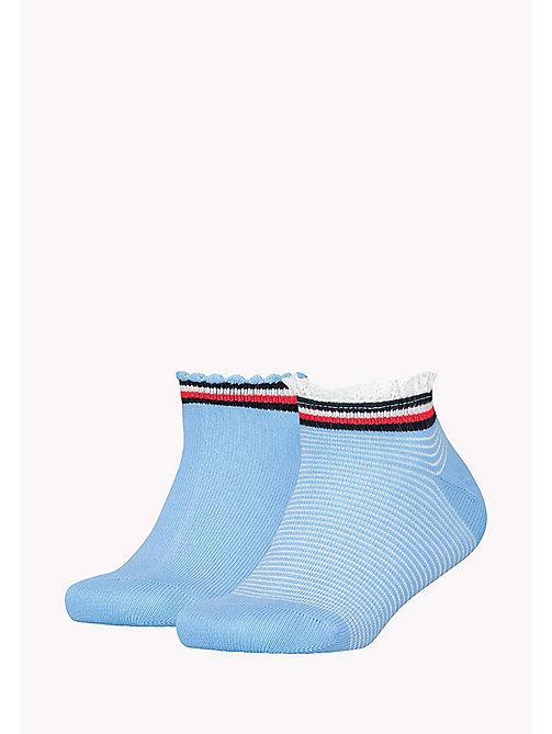 TOMMY HILFIGER 2-Pack Blue Lace Ruffle Socks - SPA BLUE - TOMMY HILFIGER Underwear & Sleepwear - main image
