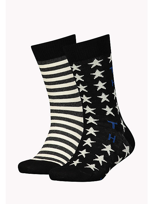 TOMMY HILFIGER TH UNISEX STARS AND STRIPES SOCK 2P - BLACK - TOMMY HILFIGER Sous-Vêtements & Pyjamas - image principale
