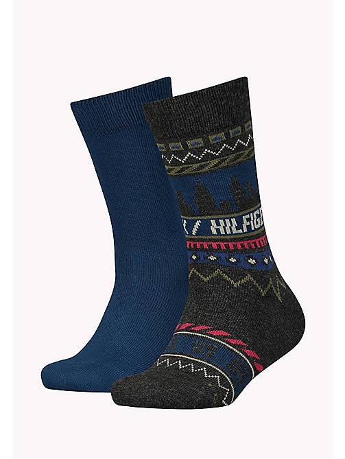 TOMMY HILFIGER TH BOYS FAIRISLE SOCK 2P - MIDDLE GREY MELANGE - TOMMY HILFIGER Schuhe & Accessoires - main image