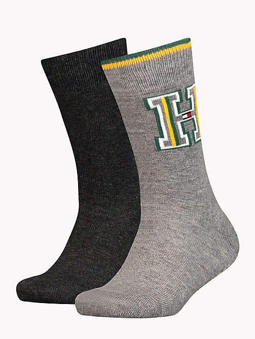 TOMMY HILFIGER 2-Pack Kids' Monogram Socks - MIDDLE GREY MELANGE - TOMMY HILFIGER Underwear & Socks - main image