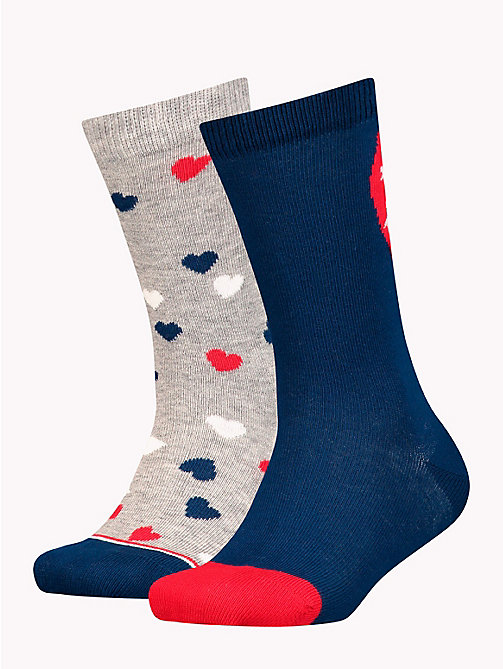 TOMMY HILFIGER 2-Pack Girls' Heart Socks - MIDNIGHT BLUE - TOMMY HILFIGER Underwear & Socks - main image