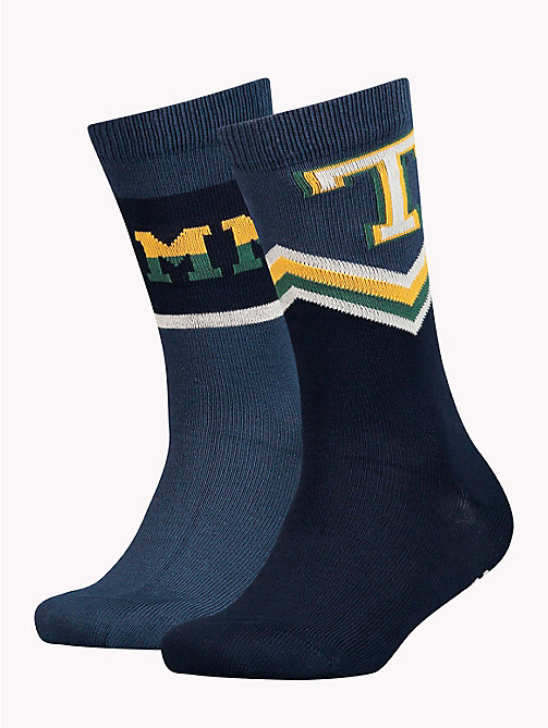 TOMMY HILFIGER 2-Pack Kids' Logo Socks - MIDNIGHT BLUE - TOMMY HILFIGER Underwear - main image