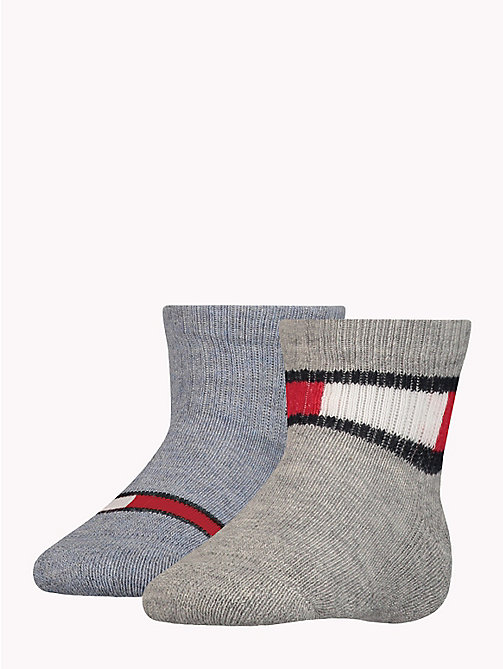 TOMMY HILFIGER 2-Pack Baby Logo Socks - MIDDLE GREY MELANGE -  Boys - main image