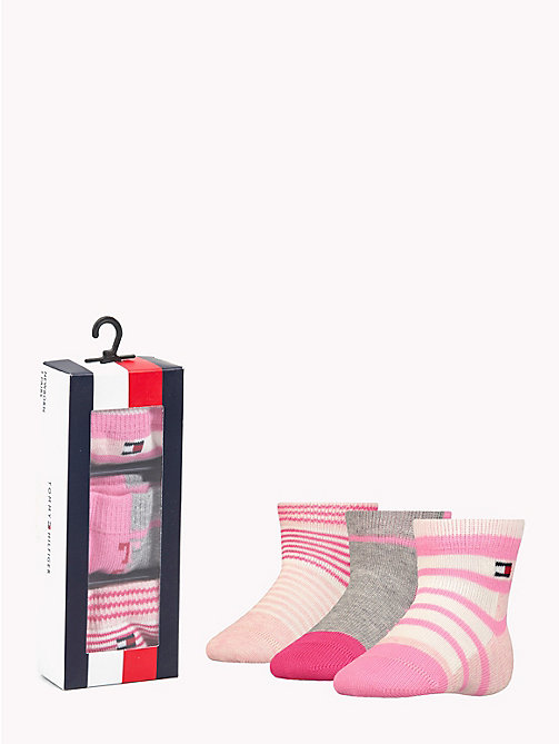 TOMMY HILFIGER 3-Pack Baby Stripe Socks - ROSE MELANGE -  Girls - main image