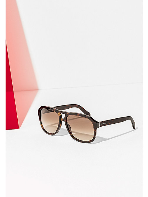 TOMMY HILFIGER Aviator Sunglasses - DARK HAVANA/BROWN SHADED - TOMMY HILFIGER Sunglasses - main image