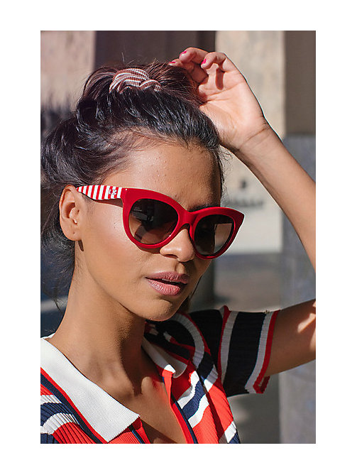 TOMMY HILFIGER Cat Eye Sunglasses - RED/BROWN SHADED - TOMMY HILFIGER Women - detail image 1