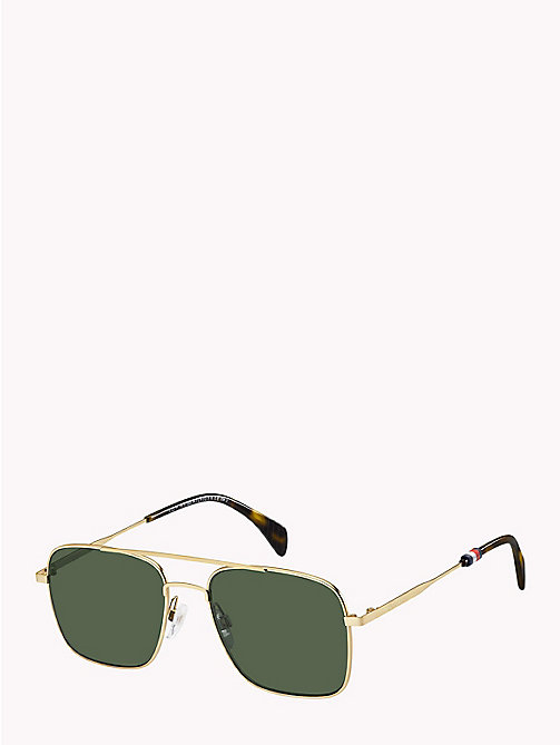 TOMMY HILFIGER Tinted Aviator Sunglasses - SEMI-MATTE GOLD / GREEN - TOMMY HILFIGER VACATION FOR HIM - main image