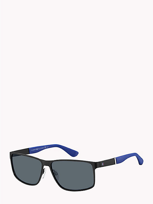 TOMMY HILFIGER Contrast Earpiece Rectangular Sunglasses - MATTE BLACK / GREY BLUE - TOMMY HILFIGER Sunglasses - main image