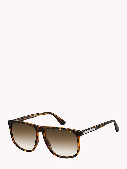 TOMMY HILFIGER Large Frame Classic Sunglasses - DARK HAVANA/BROWN SHADED - TOMMY HILFIGER Sunglasses - main image