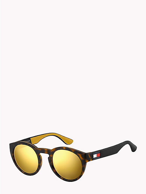 TOMMY HILFIGER Notched Nose Bar Sunglasses - YELLOW HAVANA / BROWN GOLD MIRROR - TOMMY HILFIGER Bags & Accessories - main image