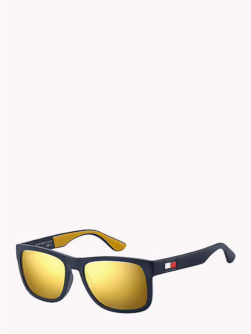 TOMMY HILFIGER Tinted Rectangular Sunglasses - BLUE YELLOW / BROWN GOLD MIRROR - TOMMY HILFIGER Sunglasses - main image