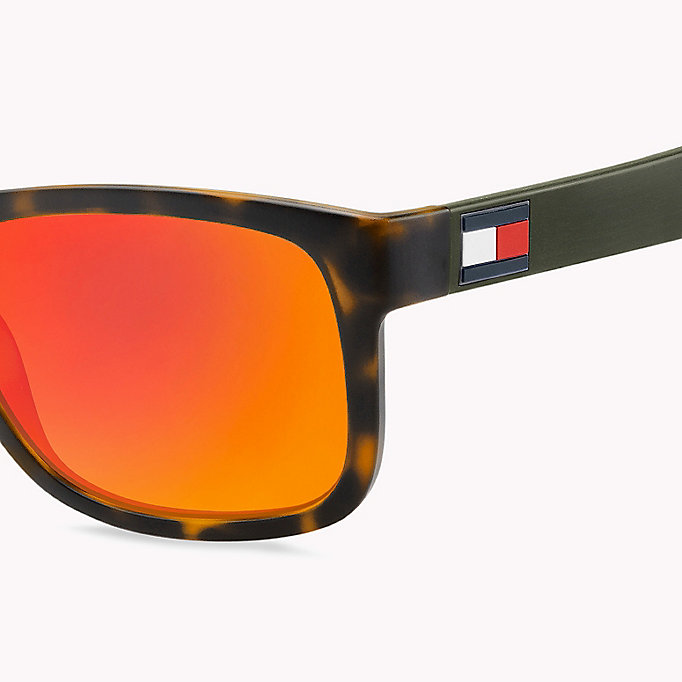 TOMMY HILFIGER Tinted Rectangular Sunglasses - BLUE YELLOW / BROWN GOLD MIRROR - TOMMY HILFIGER Men - detail image 2