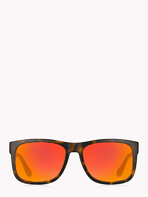TOMMY HILFIGER Tinted Rectangular Sunglasses - HAVANA RED / RED FLASH - TOMMY HILFIGER Sunglasses - main image