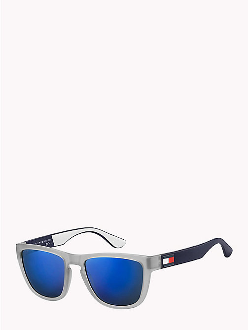 TOMMY HILFIGER Notched Nose Bar Sunglasses - MATTE GREY / BLU SKY MIRROR - TOMMY HILFIGER VACATION FOR HER - main image