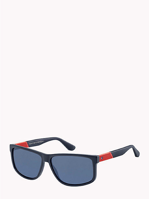 TOMMY HILFIGER Contrast Temple Rectangular Sunglasses - MATTE BLUE/BLUE AVIO - TOMMY HILFIGER Sunglasses - main image