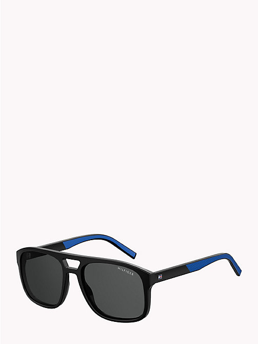 TOMMY HILFIGER Polo Piqué Caravan Sunglasses - BLACK / BLUE RUBBER GREY - TOMMY HILFIGER Sunglasses - detail image 1