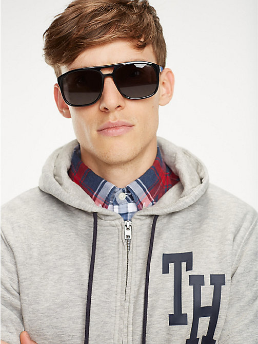 TOMMY HILFIGER Polo Piqué Caravan Sunglasses - BLACK / BLUE RUBBER GREY - TOMMY HILFIGER Sunglasses - main image