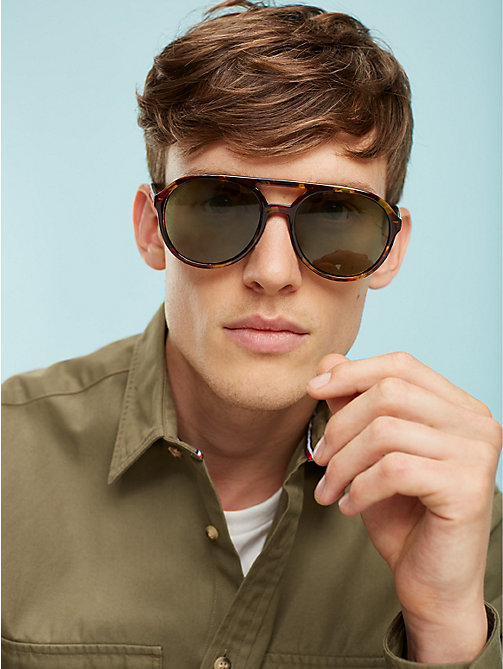 TOMMY HILFIGER Double Bridge Aviators - HAVANA GREEN - TOMMY HILFIGER Sunglasses - main image