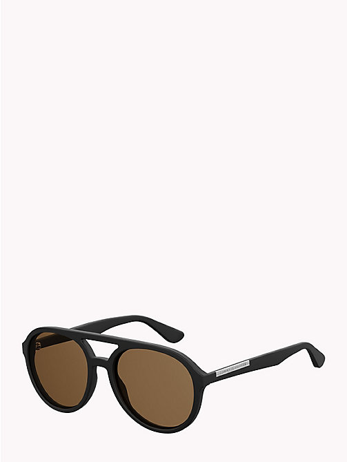 TOMMY HILFIGER Double Bridge Aviators - MATT BLACK BROWN - TOMMY HILFIGER Sunglasses - detail image 1