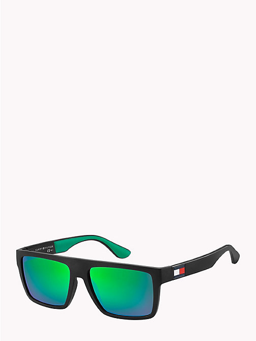 TOMMY HILFIGER Rectangular Sunglasses - MATT BLACK / GREEN RUBBER MIRROR GREEN - TOMMY HILFIGER Sunglasses - detail image 1