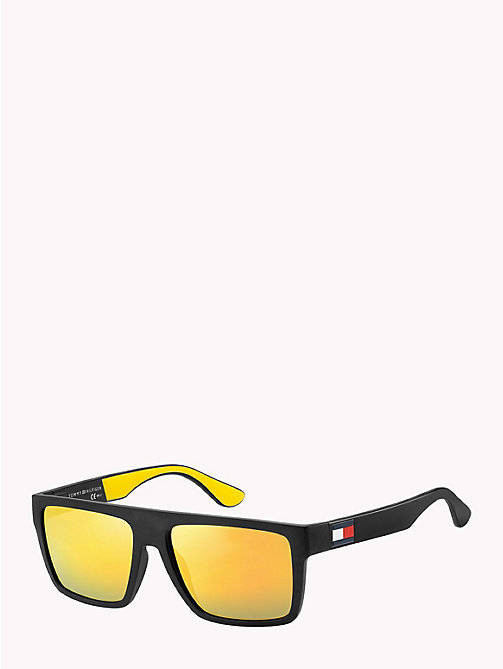 TOMMY HILFIGER Rectangular Sunglasses - MATTE BLACK / YELLOW RUBBER MIRROR YELLO - TOMMY HILFIGER Sunglasses - detail image 1